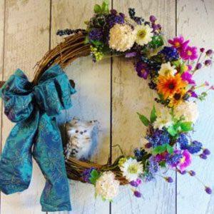 Grapevine Spring Summer Wreath Owl